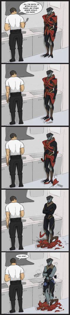 50k year old armor by spaceskeleton.deviantart.com on @deviantART (ahem..Javik's boxers)