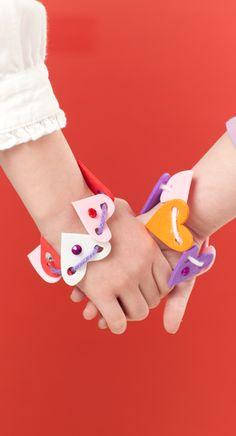 Felt & Yarn & Gem Valentine Bracelets Craft Idea For Kids
