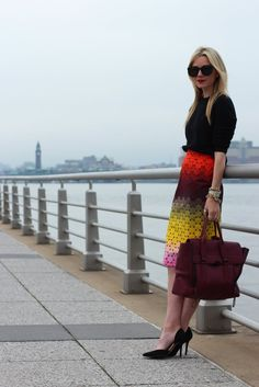 Sweater: Everlane. Shoes: Zara. Bag: Phillip Lim thanks to Hampden Clothing. Lips: MAC 'Ruby Woo'. Skirt: Jonathan Saunders. Sunglasses: Karen Walker. Jewelry: Michele, Jcrew, David Yurman, Hermes, Pomellato.
