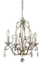 Beautifully cut clear crystals are paired with an antique silver finish in this Four-Light mini chandelier. The unique chandelier will provide a touch of sparkle and elegance. - Supplied with Chain and Cord. - Bulb (s) not included. Z-Lite - Chandelier En Argent, Silver Chandelier, Candle Chandelier, Rustic Chandelier, Chandelier Lighting, Pendant Lights, Home Depot, Residential Lighting, Chandeliers
