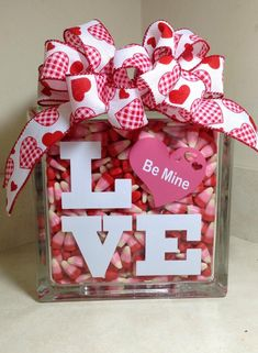 Valentine's Day glass block
