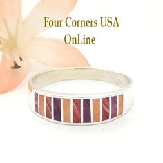 Multi Color Purple Red Orange Spiny Oyster Shell Inlay Band Ring Size 13 Native American Ella Cowboy Silver Jewelry WB-1543 Four Corners USA OnLine Navajo Wedding Jewelry Wide Wedding Bands, Wedding Band Styles, Engagement Wedding Ring Sets, Native American Wedding, Native American Rings, Sterling Silver Mens Rings, Silver Jewelry, Navajo Wedding, Four Corners Usa