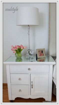 awesome painted bedside tables with mirrored tops from musings on the pretty