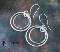 Silver hoop earrings, Double hoop dangle earrings, handmade by BijouterieOz