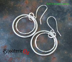 Silver hoop earrings, Double hoop dangle earrings, handmade by BijouterieOz