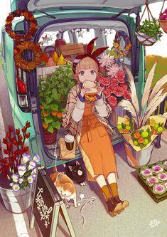 Pretty Art, Cute Art, Character Art, Character Design, Environmental Art, Cute Illustration, Anime Art Girl, Aesthetic Art, Cartoon Art
