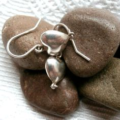 Silver Heart Earrings  1980's Vintage by ReTainReUse on Etsy, $15.00