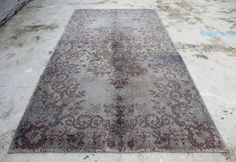 3'10 x 6'11 GRAY Overdyed Turkish Oushak Rug. by IstanbulArtCraft
