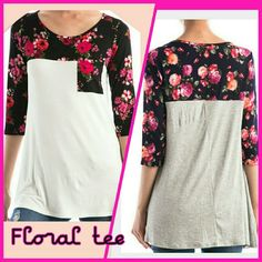"""Floral top tee L Floral top tee with a cute floral pocket. Only white available.  Made in USA Fabric: 95% rayon 5% spandex Length 28""""  Small medium and large available. This listing is for size large.  Purchase this listing or comment for a personal listing.  Discounts on bundles. boutique Tops Tees - Long Sleeve"""