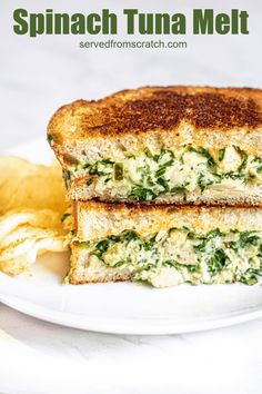 This is one of our favorite ways to add some extra nutrition into our lunches! This Spinach Tuna Melt is everything you love about a tuna melt, just with the added nutrition of spinach - that even kids still love! #tunamelt #recipe #sandwich #easy #spinach Best Lunch Recipes, Sandwich Recipes, Dinner Recipes, Healthy Recipes, Quick Recipes, Healthy Snacks, Wrap Recipes, Fish Recipes, Seafood Recipes