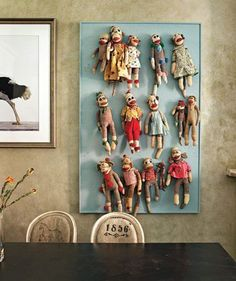 """Sock monkey collection. My favorite collection find. In memory of """"Monkey Doodle."""""""