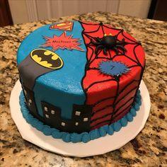 Spiderman and Batman superheroes birthday cake.  Dual theme birthday cake.  https://www.facebook.com/sweetnsassycakesbyeva