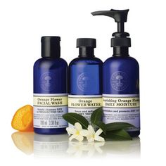 Nourishing Orange Flower Facial Wash, Toner, & Daily Moisture Collection by Neal's Yard Remedies/NYR Organic  Perfect for moisturizing and caring for dry skin.