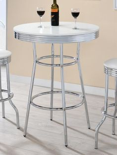2300 Warrensburg westgate retro style chrome and white round bar table Round Bar Table, Bar Tables, Retro Fashion 50s, White Coasters, Outdoor Tables, Outdoor Decor, Chrome Plating, Outdoor Furniture, Steel