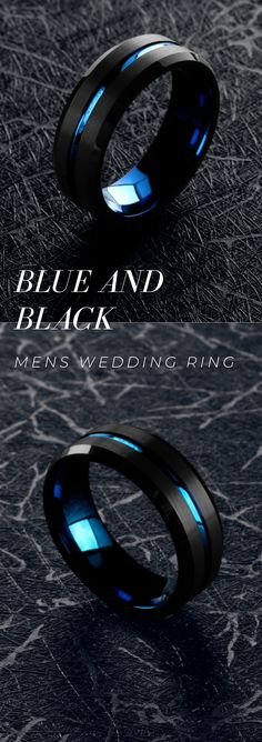 Men's Wedding Ring - A Collection Of Blue and Black Rings - Finally a unique collection of mens wedding rings. The blue and black mens wedding ring collection. Stacked Wedding Rings, Diamond Wedding Rings, Mens Sapphire Wedding Band, Outfits Inspiration, Tungsten Wedding Bands, Wedding Men, Unique Mens Wedding Bands, Jeep Wedding, Shoes