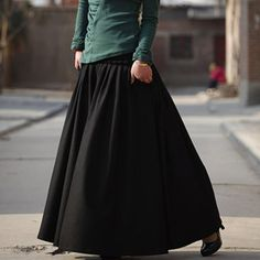 Black skirt wool winter maxi skirt (MM59B)
