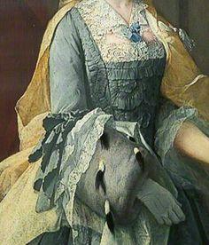 Portrait of Catherine Havers (detail), by Barthélemy Du Pan 1735, Leeds Museum Gallery.