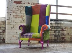 MODERN QUEEN ANNE CHESTERFIELD SCROLL WING ARM CHAIR PATCHWORK LEATHER FABRIC