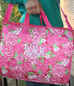 Personalized Monogrammed Lilly Pulitzer Laptop Tote with Shoulder Strap