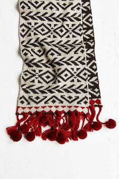 Pom Fringe Geo Scarf - Urban Outfitters