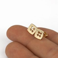Minimalist and classy square stud earrings handmade of solid yellow gold, by Sigal Gerson 14k Earrings, Etsy Earrings, Real Gold Jewelry, Square Earrings, Ear Studs, Minimalist Earrings, Gold Studs, Earrings Handmade, Solid Gold