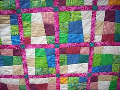 Crazy Nine Patch Quilt For Single Bed