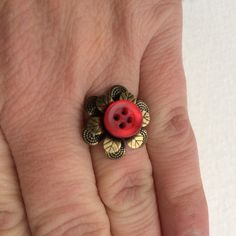 Statement Red Vintage Button Ring with Brass Flower by buttonsoupjewelry on Etsy