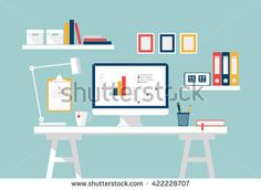 Home office interior. Stylish white workspace on home or studio. Modern Vector Flat design. Creative office workspace, workplace for student with computer and infographics. Table, lamp, frames, boxes