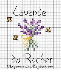 At Mounette& cross stitch: diagram Chez Mounette: point de croix : diagramme At Mounette& cross stitch: diagram Easy Cross Stitch Patterns, Cross Stitch Borders, Cross Stitch Flowers, Cross Stitching, Cross Stitch Embroidery, Mini Cross Stitch, Cross Stitch Cards, Simple Cross Stitch, Lavender Crafts