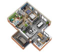 Le Plan De Plainpied Est Scindé En Deux Une Zone Tournée Vers La - Plan interieur maison plain pied