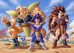 3boys angry armor bald black_hair bodysuit boots bracer brown_hair crossed_arms dragon_ball dragon_ball_z facial_hair frown gloves highres long_hair multiple_boys mustache nappa open_mouth raditz scouter space_craft spiky_hair tail vegeta veins very_long_hair yosui