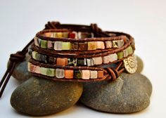 Mixed color beaded boho chic bracelet Natural by SinonaDesign, $46.00