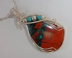 Red Blue Black Sonoran Sunset Cabochon Wire Wrapped Pendant