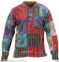Acidwashed Grandad Festival Shirt With Patchwork,Blocked,Hippie Colourful,Boho