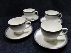 Wedgwood PALATIA Tea Cup Saucer Footed Bone China England 1983 NEVER USED! FOUR in Pottery & Glass, Pottery & China, China & Dinnerware | eBay