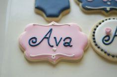 Cookies by www.SoonerSugar.com Pink/blue/girl/baby/initial/ birthday cookie