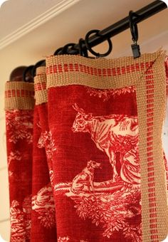 Miss Mustard Seed: Ruffled Pillow Tutorial. made these curtains with upholstery webbing trim. Window Coverings, Window Treatments, Toile Curtains, French Curtains, Patchwork Curtains, Vintage Curtains, Country Curtains, Ruffle Pillow, Pillow Tutorial