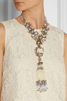 Erickson Beamon|Weeping Angel gold-plated, bead and crystal tassel necklace|NET-A-PORTER.COM