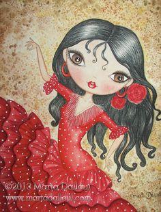 Flamenco Dancer Art print. Spanish girl whimsical by MartaDalloul