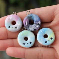Kawaii Galaxy Donut Charms Polymer Clay charm by Puggycraftshop