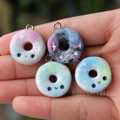 Kawaii Galaxy Donut Charms Polymer Clay charm by Puggycraftshop