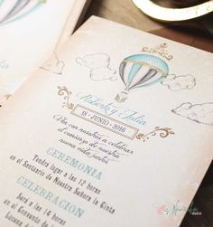 Invitación de Viaje. Globo aeroestático. Travel wedding invitation. Balloon