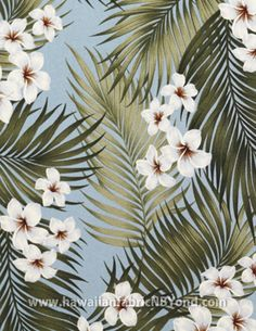 Hawaiian upholster fabric - Palm fronds and plumeria flowers. #tropicalflowers #textile #hawaiianfabric #palm