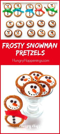 White Chocolate Frosty Snowman Pretzels make sweet winter and Christmas treats. = I have seen photos of these pretzel snowmen, but this is the first time I've seen the directions to make them. Christmas Pretzels, Christmas Party Food, Christmas Sweets, Christmas Cooking, Christmas Goodies, Holiday Cookies, Christmas Desserts, Holiday Treats, Christmas Candy
