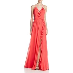 Faviana Couture Ruffle Front-Slit Gown (£246) ❤ liked on Polyvore featuring dresses, gowns, guava, red slit dress, ruffle front dress, faviana, red gown and red evening dresses