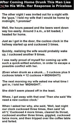 awesome This Man Lied To His Wife After Coming Home Drunk Her Response Is Priceless funny jokes story lol funny quote funny quotes funny sayings joke humor stories hilarious funny jokes Funny Quotes For Teens, Funny Quotes About Life, Funny Sayings, Funny Wife Quotes, Funny Shit, Funny Stuff, Random Stuff, Really Funny, The Funny