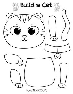Free Printable Build a Cat Craft for Kids   Mrs. Merry