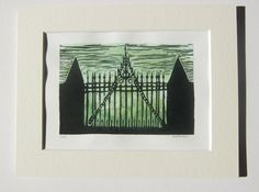 linocut print the gate to Hill House matted lino by nothingtralala, Wrought Iron Gates, Printing Ink, House On A Hill, Linocut Prints, Gravure, Printmaking, Carving, Hand Painted, Colour