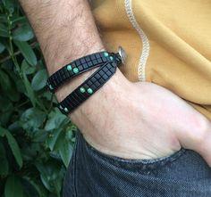 Double Wrap Bracelet, Black Matte Miyuki Beads, Turquoise Czech Beads, Silver Italian Clasp, Unisex-#21 by CupidsMoonJewelry on Etsy