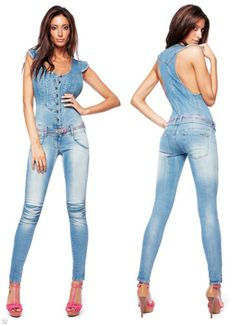 Overall X-CURLYSU D876 E47 1626 Jeans Jumpsuit, Overalls, Shorts, Tights, Leggings, The Girlfriends, Double Trouble, Blue Jeans, Cloths